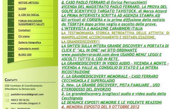 MAPPA DEL SITO PAOLOFERRAROCDD.EU RIAGGIORNATA AL 28 febbraio 2017